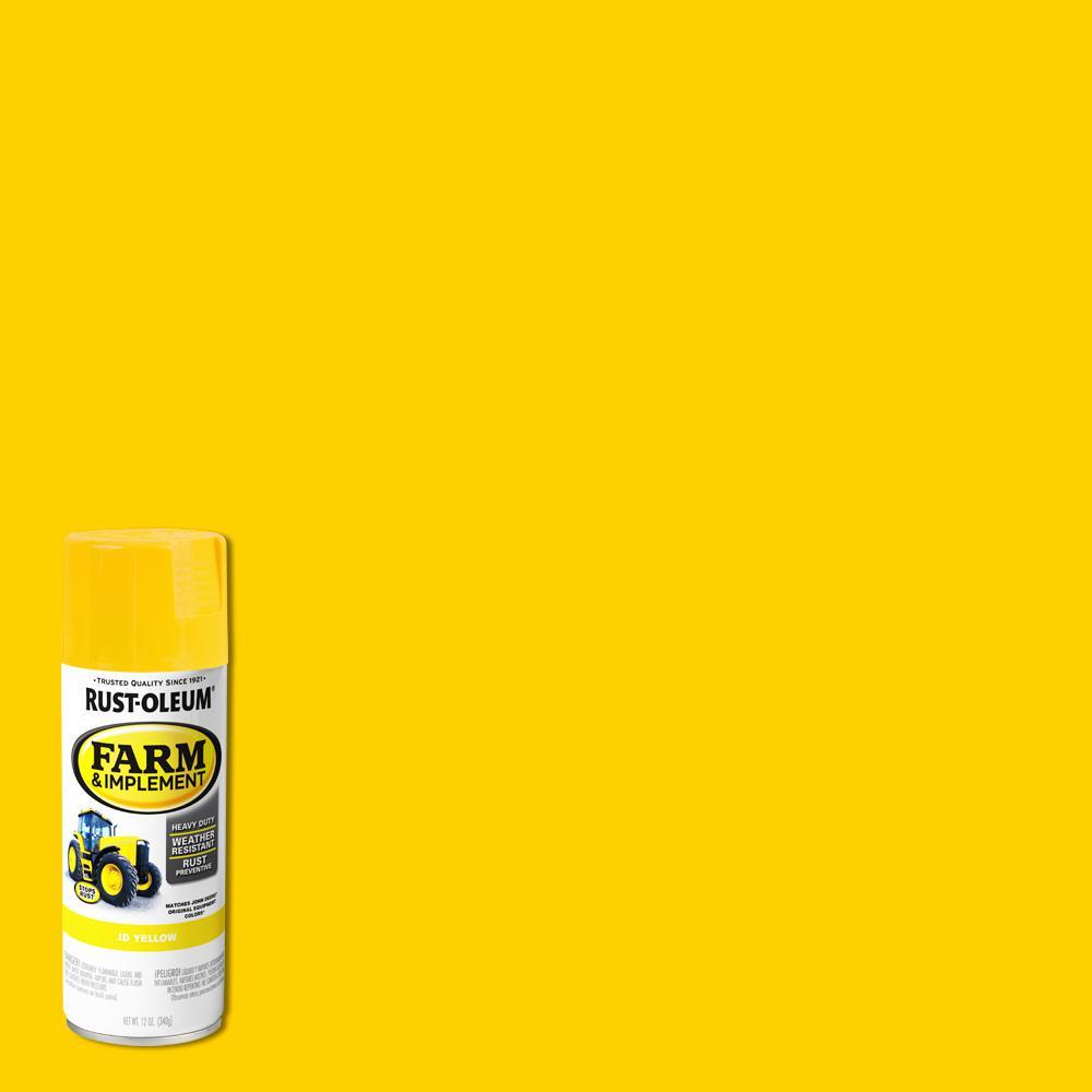 Rust Oleum 12 Oz Farm Implement J D Yellow Gloss Enamel Spray Paint 280129 The Home Depot