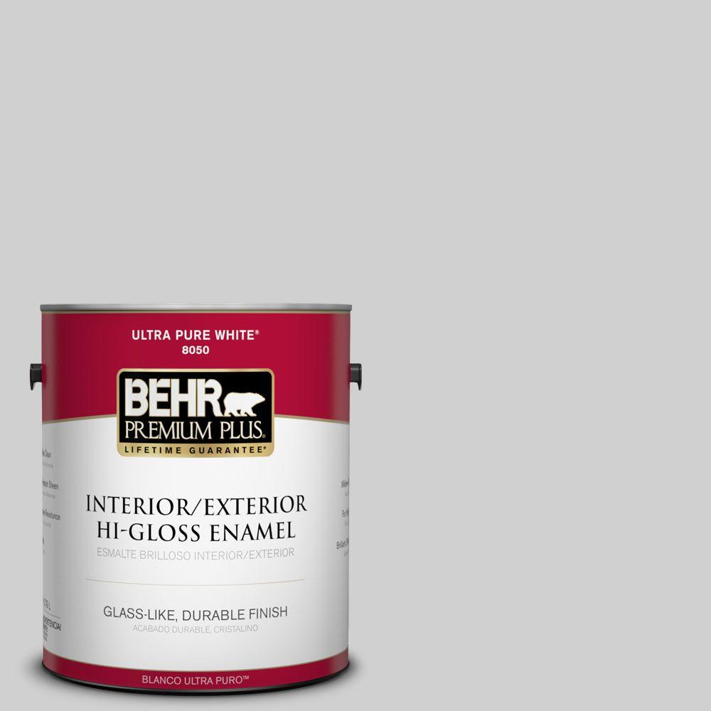 BEHR Premium Plus 1-gal. #N520-1 White Metal Hi-Gloss Enamel Interior/Exterior Paint