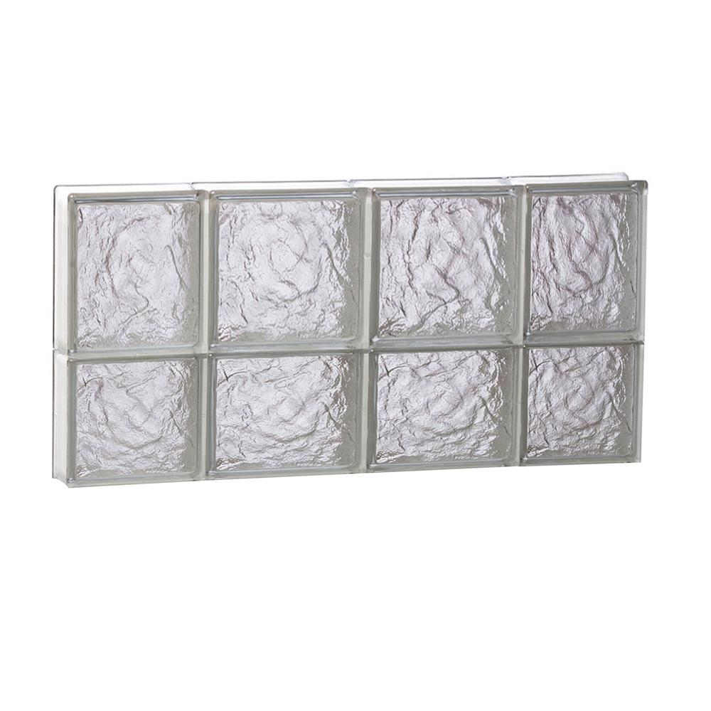 Clearly Secure 27 in. x 13.5 in. x 3.125 in. Frameless Ice Pattern Non-Vented Glass Block Window