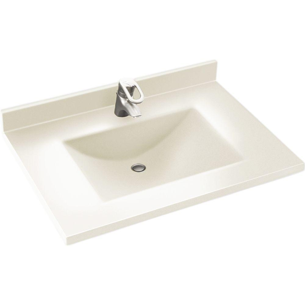 Contour 37 in. W x 22 in. D Solid Surface Vanity