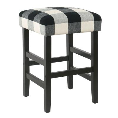 Square 24 in. Black Plaid Bar Stool