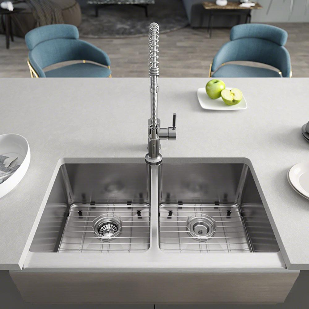 Rene Farmhouse Apron Front Stainless Steel 32-3/4 in. Double Bowl Kitchen  Sink