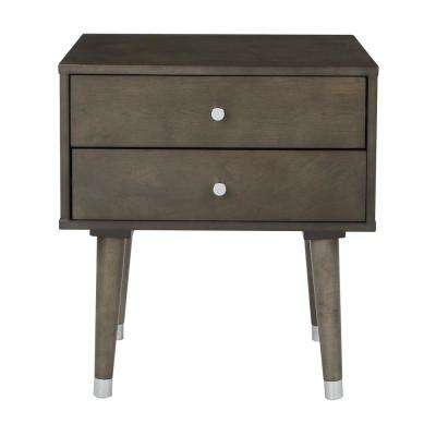 Cupertino Grey Side Table with 2-Storage Drawers