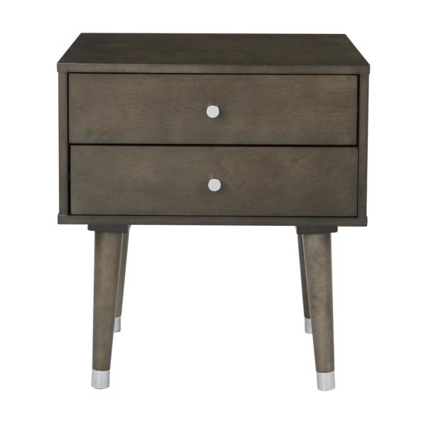 OSP Home Furnishings Cupertino Grey Side Table with 2-Storage Drawers CUP082-GRY