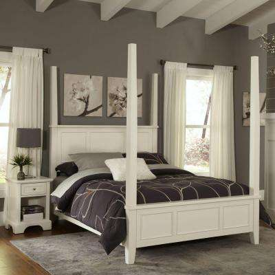 Naples White King Poster Bed