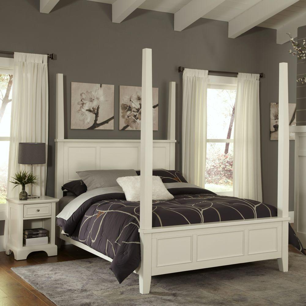 Homestyles Naples White Queen Poster Bed 5530 520 The Home Depot