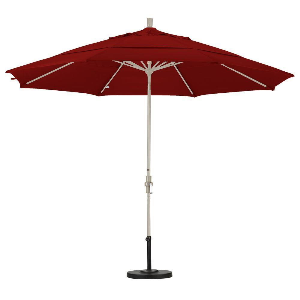 California Umbrella 11 ft. Aluminum Collar Tilt Double Vented Patio Umbrella in Brick Pacifica