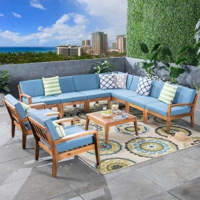 Grenada Teak Brown 10-Piece Wood Patio Conversation Set with Blue Cushions
