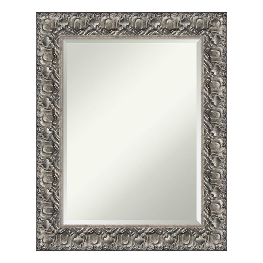 Silver Luxor Wood 24 in. x 30 in. Contemporary Bathroom Vanity Mirror