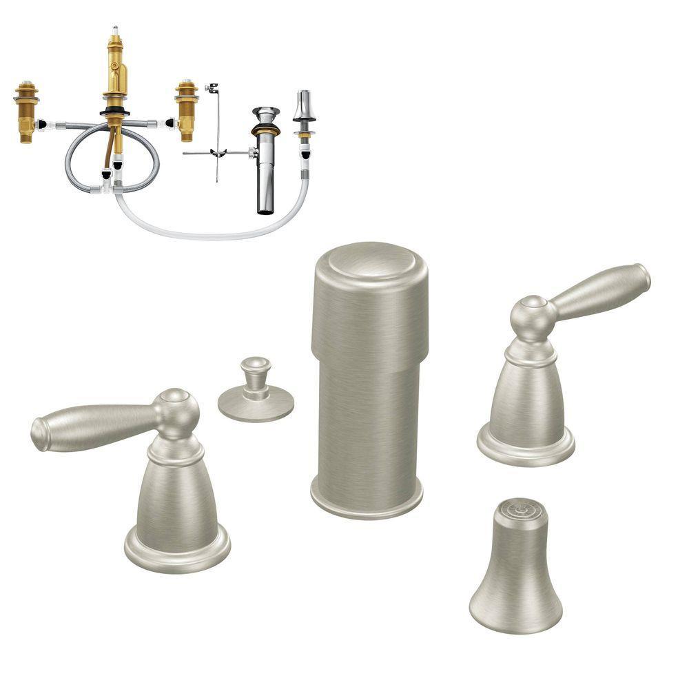 Brantford 2-Handle Bidet Faucet Trim Kit with Valve in Brushed Nickel