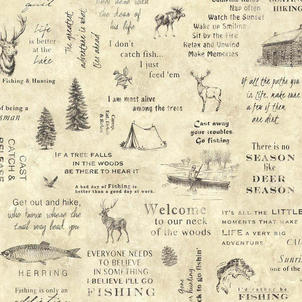 North Hills Beige Script Wallpaper