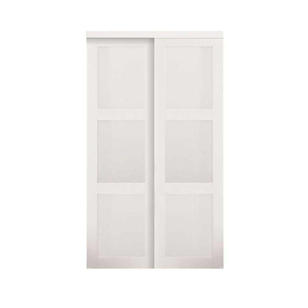 TRUporte 72 in. x 80 in. 2030 Series Off White 3-Lite Tempered Frosted Glass Composite Interior Sliding Door