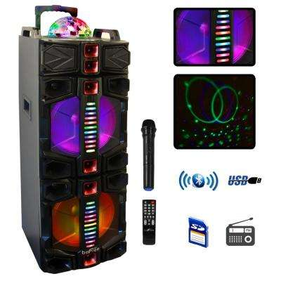 Dual 12 in. Subwoofer Portable Bluetooth Party Speaker with Wireless Microphone