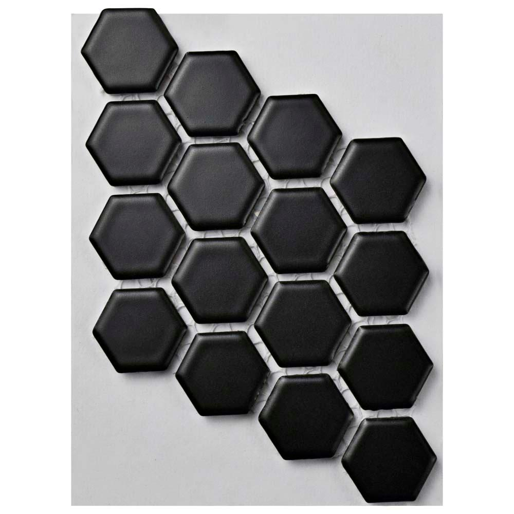 Merola Tile Metro Hex Matte Black Porcelain Mosaic Tile - 3 in. x 4 ...