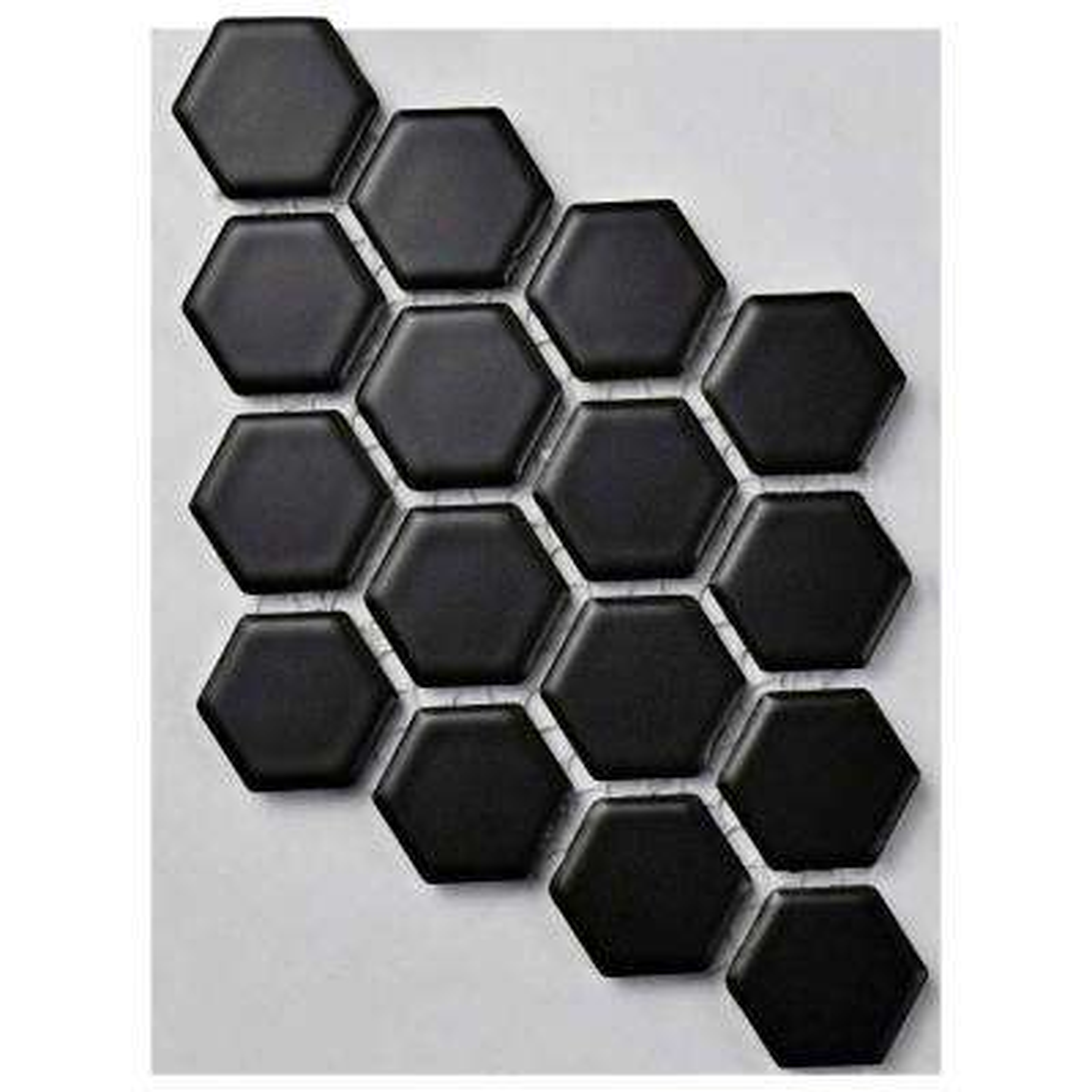 Metro Hex Matte Black Porcelain Mosaic Tile - 3 in. x 4 in. Tile Sample
