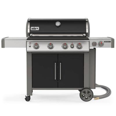 Genesis II E-435 4-Burner Natural Gas Grill in Black with Built-In Thermometer and Side Burner