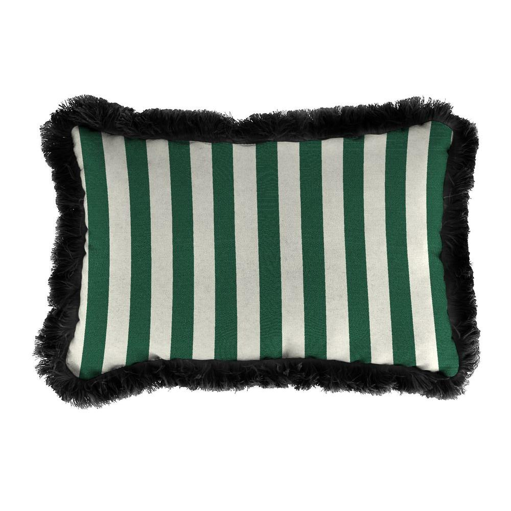 Jordan Manufacturing Sunbrella 19 in. x 12 in. Mason Forest Green Lumbar Outdoor Throw Pillow with Forest Green Fringe