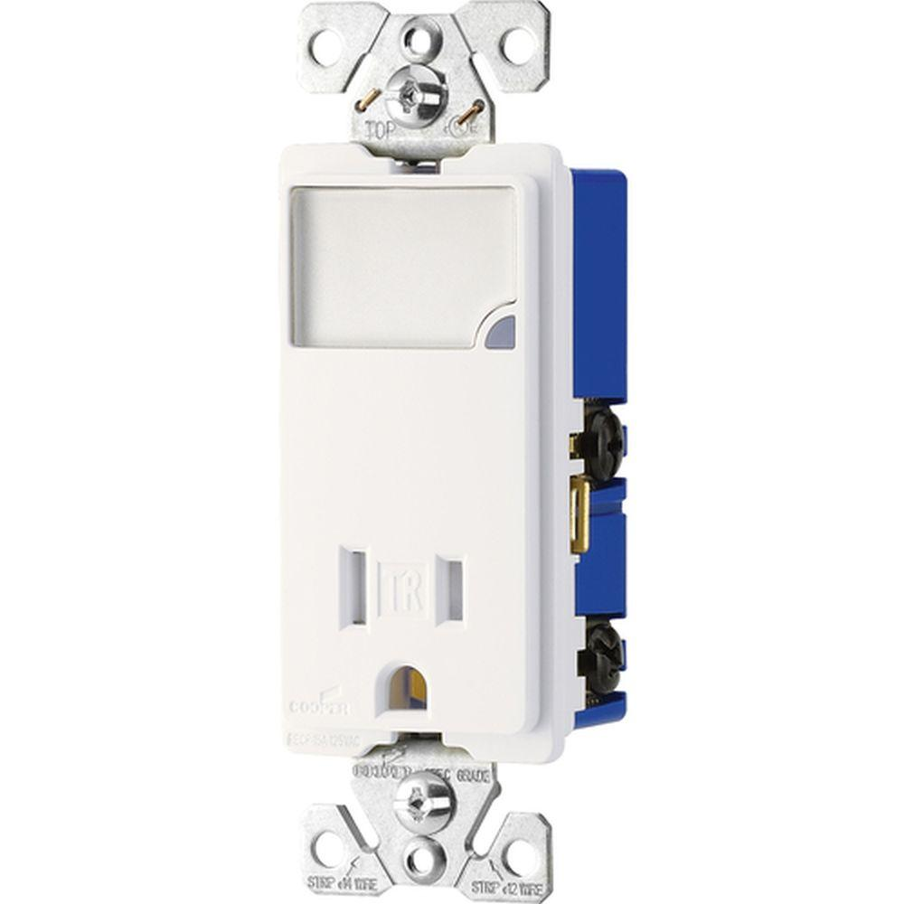 Eaton 15 Amp LED Night-light Combination with Tamper Resistant Receptacle - White