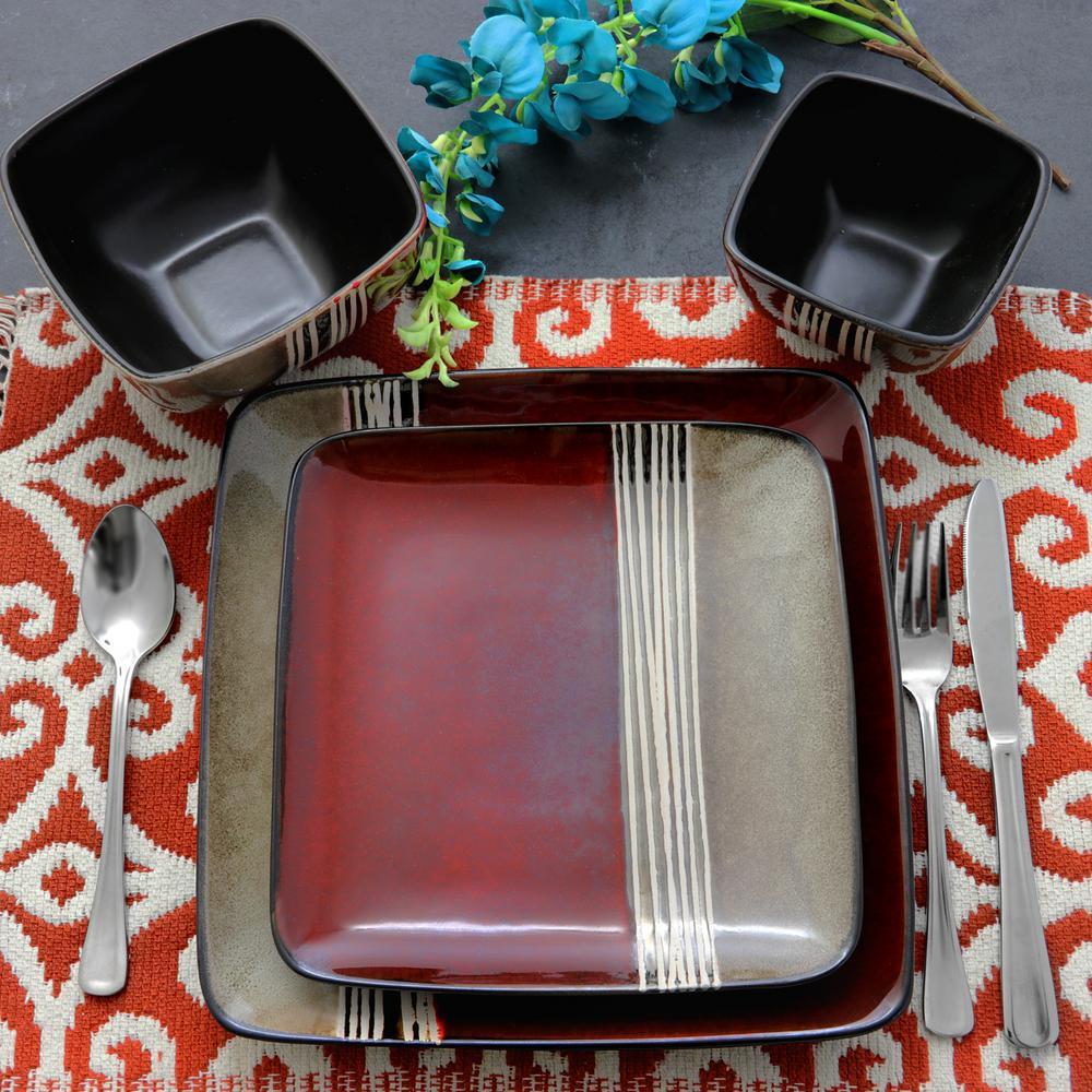 Downtown Loft 16-Piece Red Double Bowl Dinnerware Set
