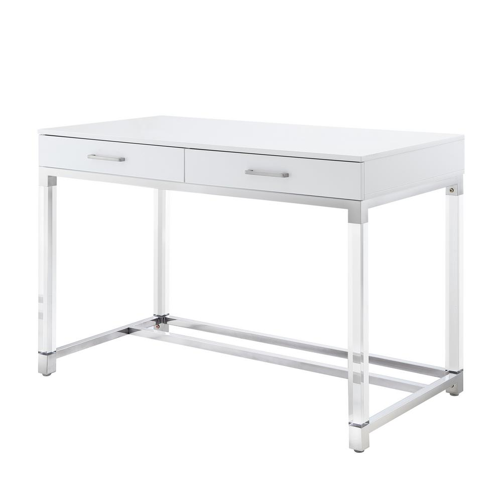Inspired Home Caspian White/Chrome Writing Desk with High Gloss  Finish-DK46-46WE-HD - The Home Depot
