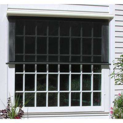 Charcoal Vinyl Exterior Solar Shade Right Motor with Full Cream Cassette - 144 in. W x 84 in. L