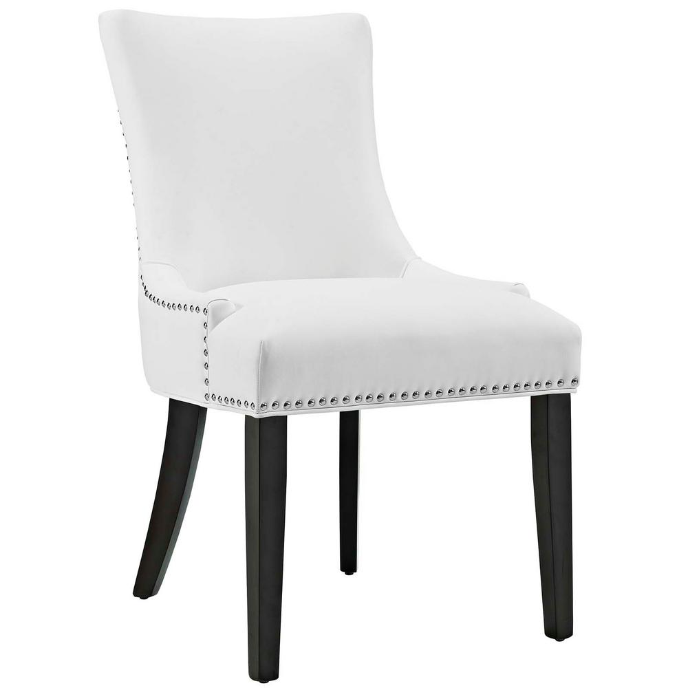 Superb MODWAY Marquis White Faux Leather Dining Chair