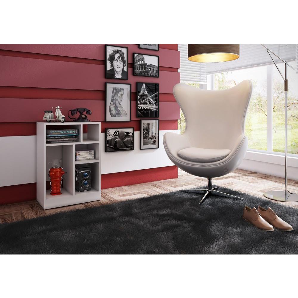 Manhattan Comfort Valenca White Open Bookcase
