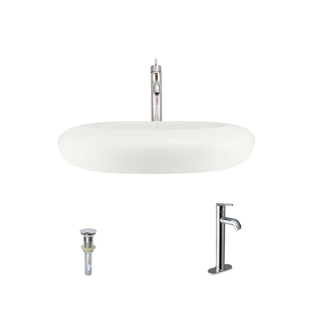 MR Direct Porcelain Vessel Sink in Bisque with 718 Faucet and Pop-Up ...