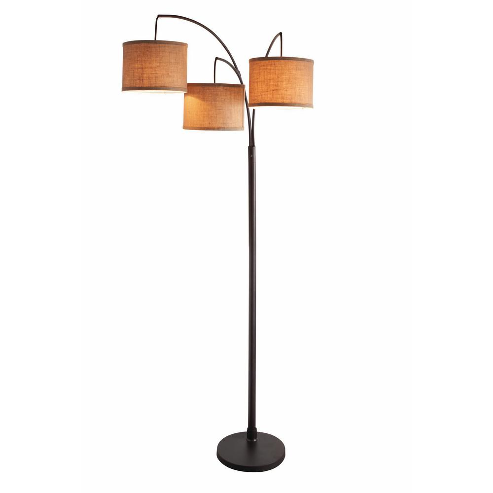 Hampton Bay Title 20 80 In 3 Arc Floor Ant Bronze Lamp