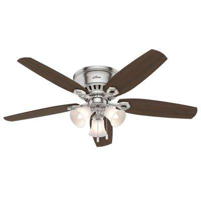 Builder Low Profile 52 in. Indoor Brushed Nickel Ceiling Fan Bundled with Light and Handheld Remote Control