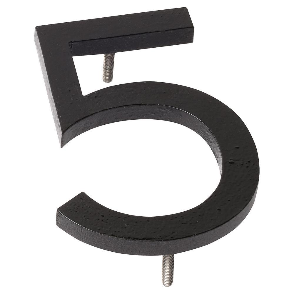 10 in. Black Aluminum Floating or Flat Modern House Number 5