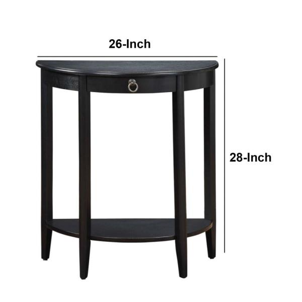 Benjara 26 in. Black Half Moon Wood Console Table with Storage