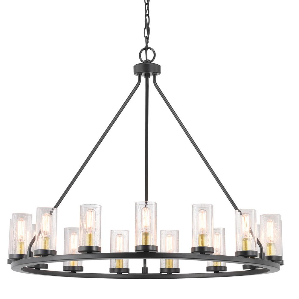 Progress Lighting Hartwell 15-Light Antique Bronze Chandelier with Natural Brass Accents and Clear Seeded Glass
