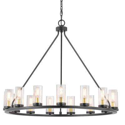 Hartwell 15-Light Antique Bronze Chandelier with Natural Brass Accents and Clear Seeded Glass