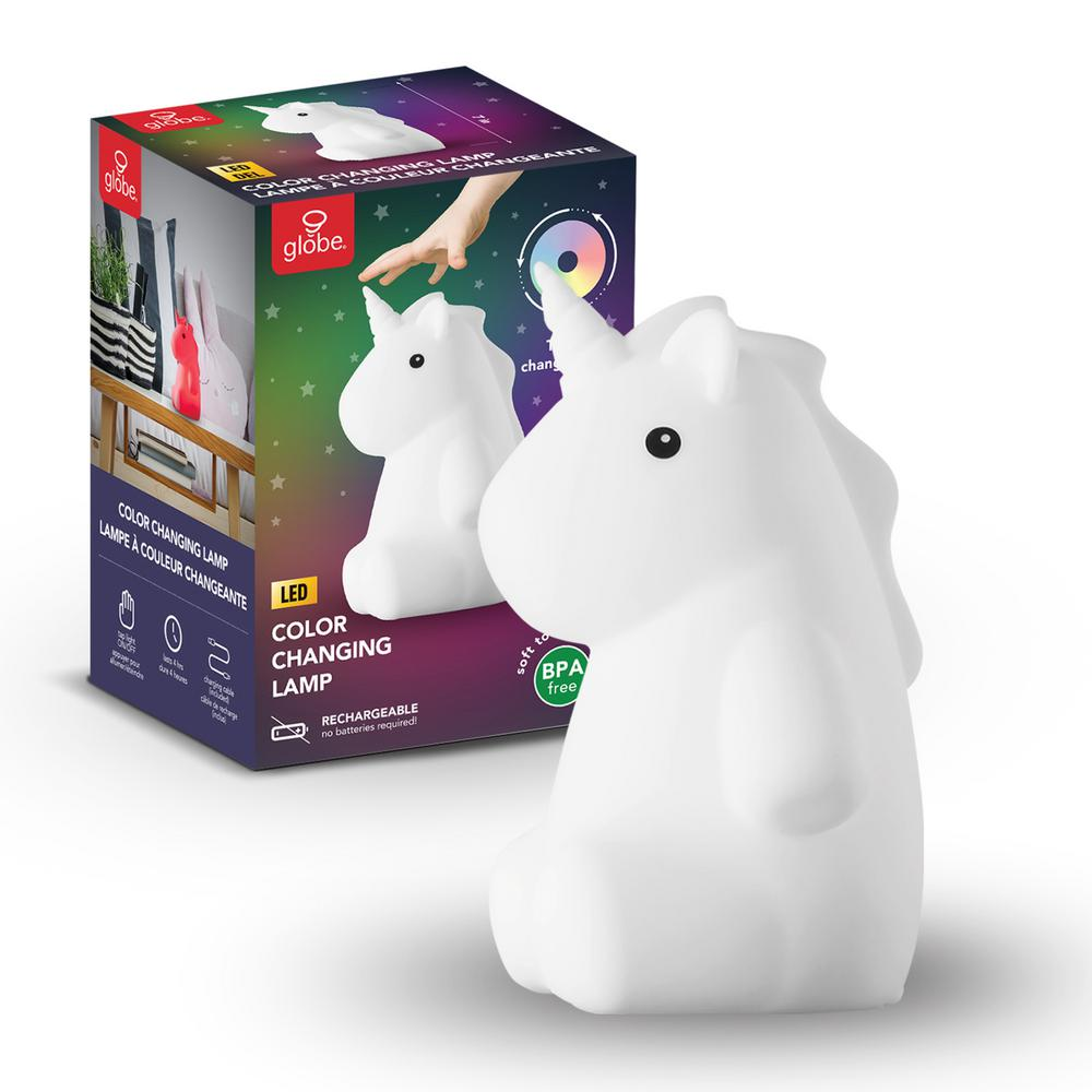 Globe Rylie Unicorn White LED Integrated Multi-Color Changing Rechargeable Silicone Night Light