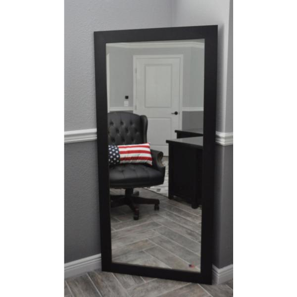 26 in. x 64 in. Black Satin Rounded Beveled Full Body