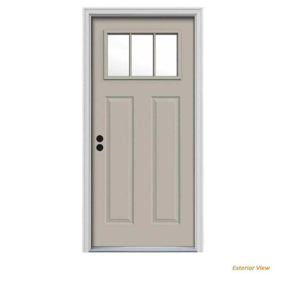34 in. x 80 in. 3 Lite Craftsman Desert Sand Painted Steel Prehung Right-Hand Inswing Front Door w/Brickmould