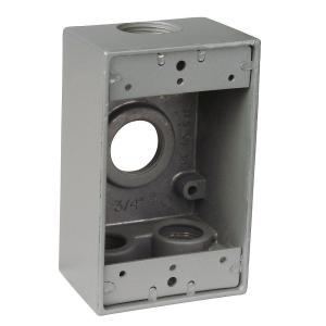 Bell 5335-0 Weatherproof 2 Gang Junction Box NEW 4 Outlet w// Plugs Hubbell