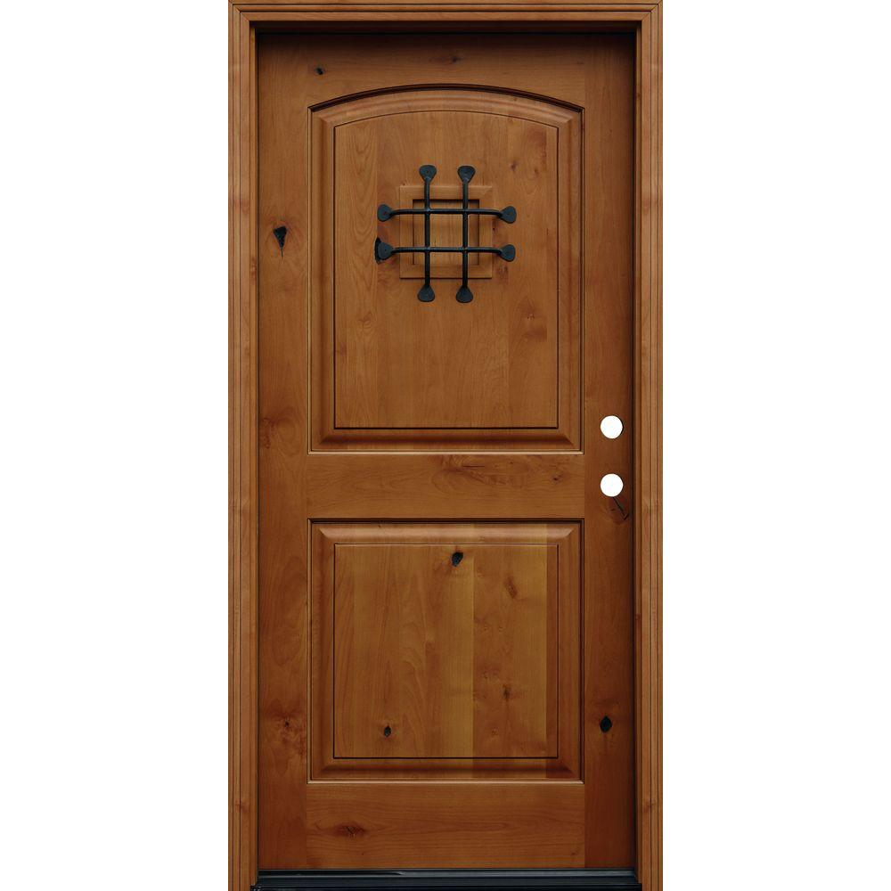 Pacific entries 36 in x 80 in rustic arched 2 panel for Wood entry doors