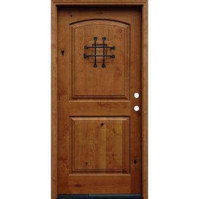 36 in. x 80 in. Rustic Arched 2-Panel Stained Knotty Alder Wood Prehung Front Door