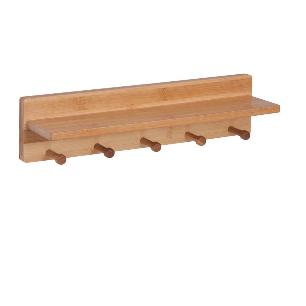 Honey-Can-Do 15.75 in. x 3.94 in. 5 Peg Bamboo Wall Decorative Shelf