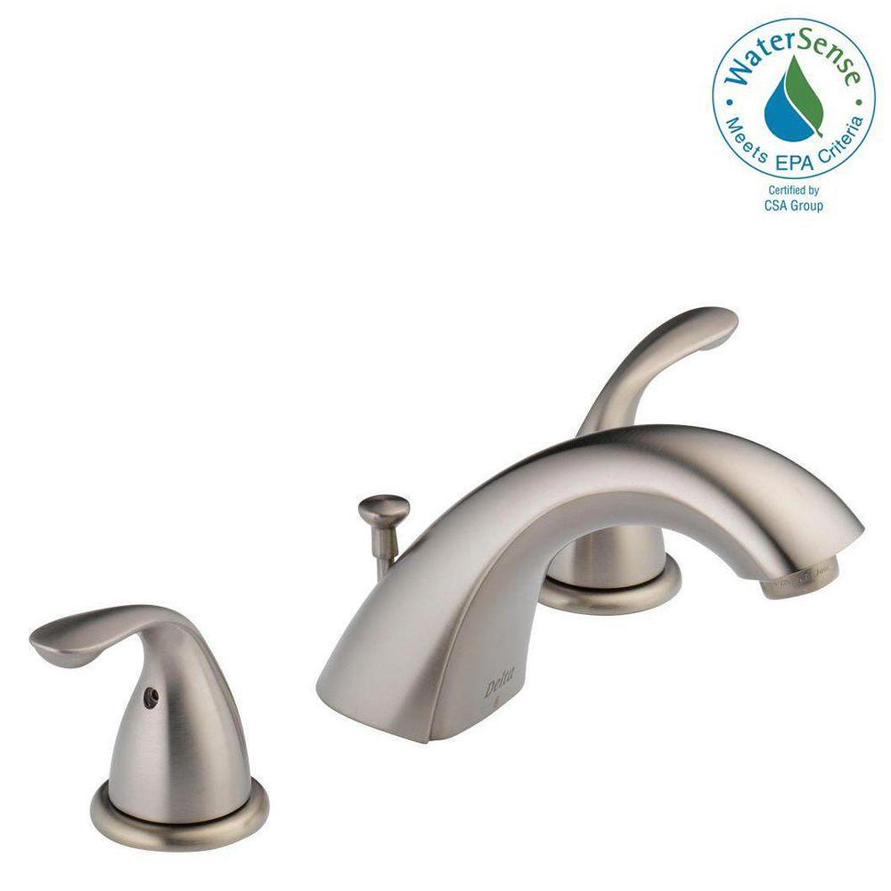 Delta Classic 8 in. Widespread 2-Handle Bathroom Faucet with Metal Drain Assembly in Stainless