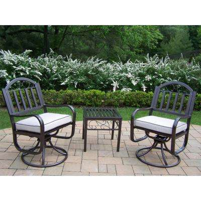 Rochester 5-Piece Metal Patio Conversation Set with Oatmeal Cushions
