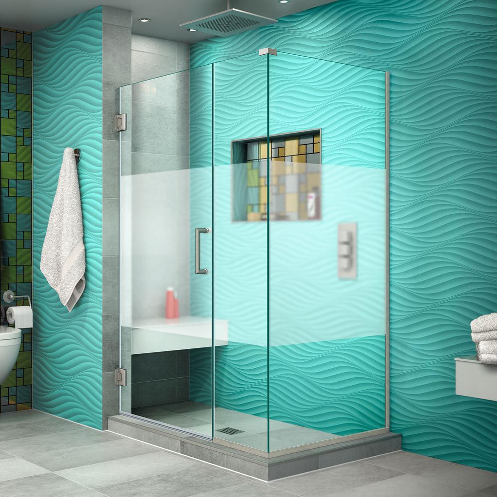 DreamLine Unidoor Plus 34-3/8in.x42-1/2in.x72 in. Frameless Hinged Corner Shower Enclosure in Brushed Nickel