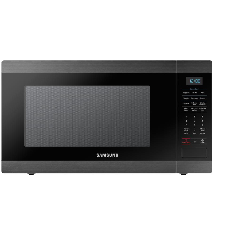 Samsung 1 9 Cu Ft Countertop Microwave In Fingerprint Resistant Black Stainless With Ceramic Enamel