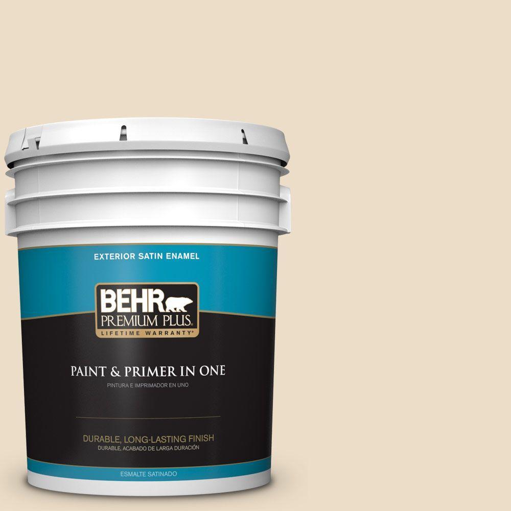 BEHR Premium Plus 5-gal. #710C-2 Raffia Cream Satin Enamel Exterior Paint