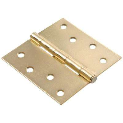 4 in. Satin Brass Residential Door Hinge with Square Corner Removable Pin Full Mortise (18-Pack)
