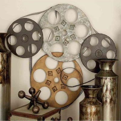 25 in. x 22 in. Industrial Inspired Metallic Iron Movie Reel Montage Wall Decor