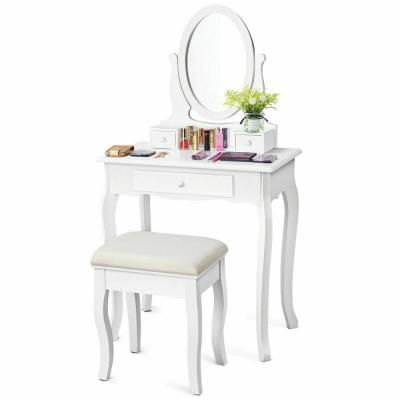 2-Piece White Jewelry Makeup Desk Vanity Table with Cushioned Stool 3-Drawers Dressing Table Set