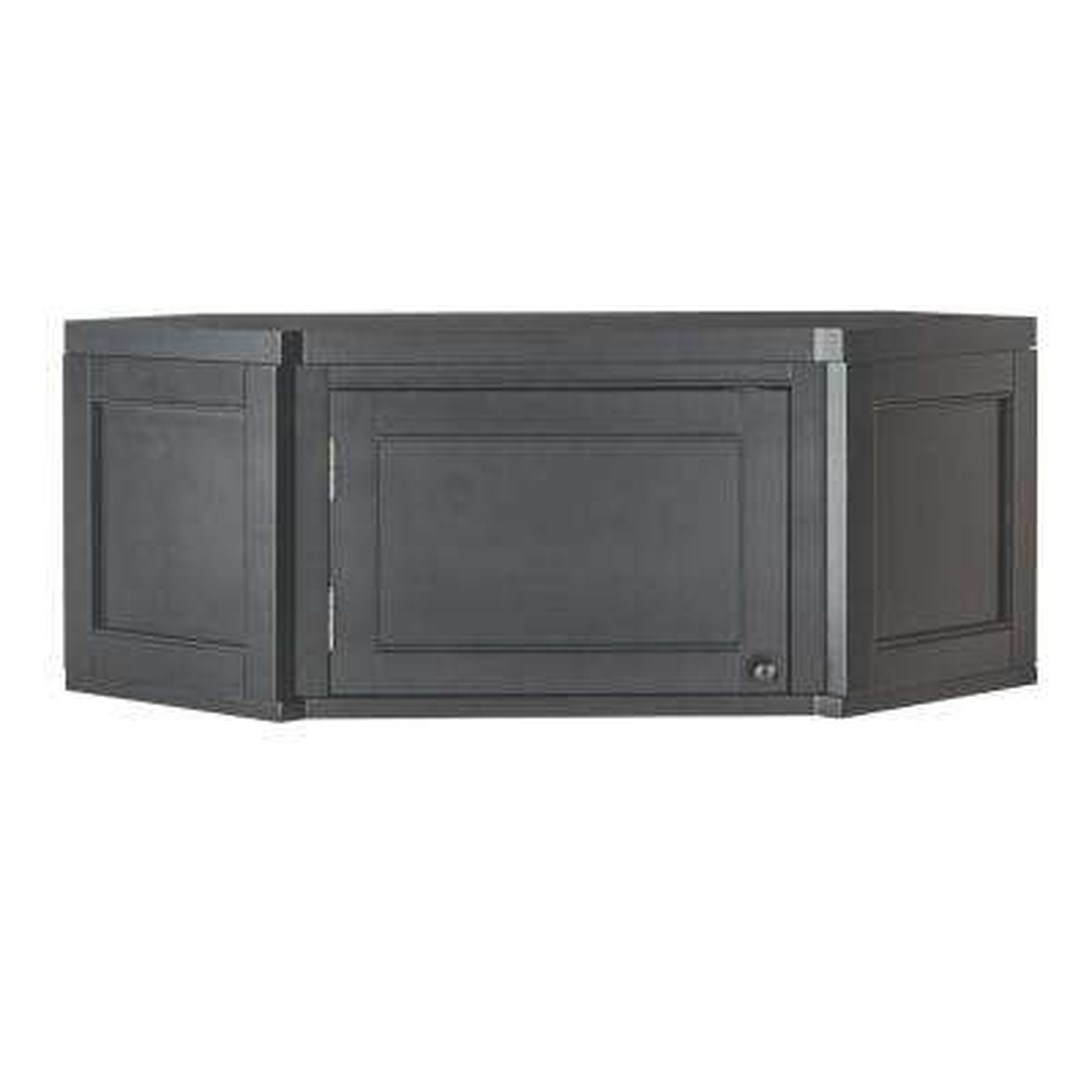 Mudroom Angled Corner Poplar Cabinet in Worn Black